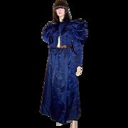 Vivid Navy Victorian Silk Bodice & Matching Full Length Skirt