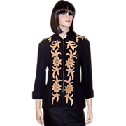 1940's Black Knit Jacket with Tan Chenille Appliques