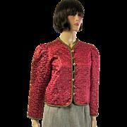 Yves Saint Laurent-Rive Gauche-Crimson Jacket with Gold Stitching