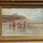 SALE John Marshall Jowett early 20th Century large English watercolor coastal landscape