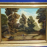 Decorative Hudson River style painting in 19th Century gilt frame