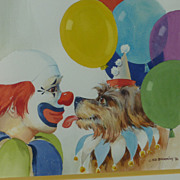 Dog and Clown art watercolor painting signed  Ed Brookins