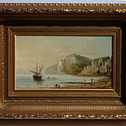 Orientalist coastal or river landscape signed 19th century oil painting