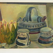 modern Mexican surrealist art early still life painting by listed artist Froylan Ojeda (1932-