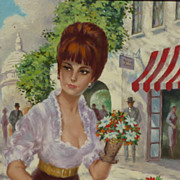SALE French 1950's painting of young woman in Paris signed GENEVIVE
