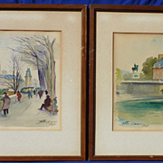 Pair of watercolor paintings of the Seine River and street scene in Paris by listed ...