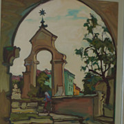 Emil Rizek  (1901- 1988) gouache painting of church arch and steps in Austria