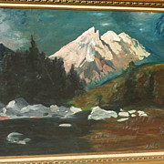 Vintage impressionist oil painting of a mountainous landscape in winter