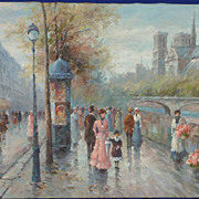 Paris street scene impressionist painting by listed artist Dany Cooper
