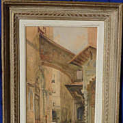 Florence Italy 1914 watercolor painting by listed French artist Laure Brouardel (1890-1919)