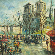 Signed impressionist  Paris painting of Notre Dame Cathedral and street scene