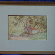 Pair of landscape ink and watercolor paintings by listed California artist Wanda Sauer Neumann