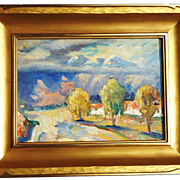 Beautifully executed impressionist western American autumn mountains landscape painting signed