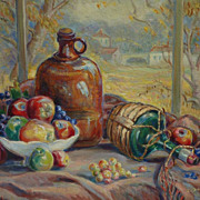 California art large still life in a landscape oil painting of fruits by listed artist ...