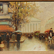 Impressionist Paris street scene painting by listed American artist Andre Gisson (1929- 2003)