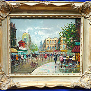 Paris street scene impressionist painting in style Antonio deVity