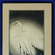 Japanese woodblock print of snowy herons by listed artist Koei Hashimoto (1892-1956)