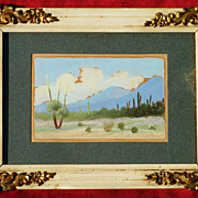 Small landscape plein air California desert scenery painting signed