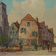 Decorative art impressionist street scene oil painting by Belgian artist Gustave Pynaert