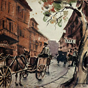 Caesar Anthony  Hernandez (1909- 1996) French street scene early watercolor painting by listed