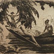 Wilhelm Hempfing German artist etching circa 1915 of three women in a summer reverie
