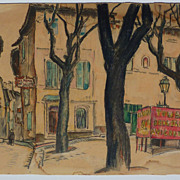 Adrian Allinson (1890 - 1959) mixed media drawing of Avignon square by well known English ...