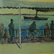 Andre Lemaitre (1909- 1995) French impressionist harbor scene oil painting of figures ...