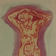 Irvin Amen (1918- 2011) rare woodblock print of a nude woman