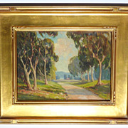 Vintage California plein air eucalyptus school oil painting signed J.H.Woodburn