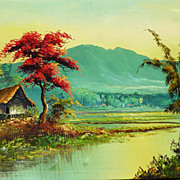 Colorful landscape oil painting of tropical Asian scene possibly Indonesia