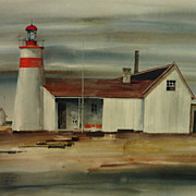 SOLD Ritchie A.Benson (1941-1996) watercolor painting of a lighthouse