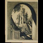 SOLD California art Josef Pierre Nuyttens (1885-1960) pencil signed etching of San Antonio de