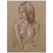 SOLD Leo Jansen (1930- 1980) original fine drawing of a nude woman