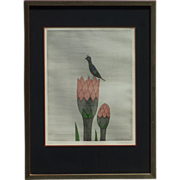 SOLD Keiko Minami (1911- 2004) pencil signed limited edition etching bird on flower