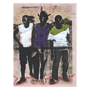 Jackie Nach (1945-) mixed media print by South African born California contemporary woman ...