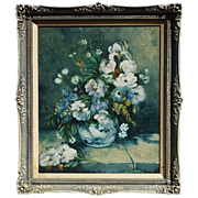 Impressionist floral still life oil on canvas painting signed RENEE