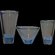 Set of 3 Holmegaard  Per Lutken  mid century modern  blue glass vases  signed
