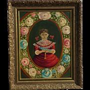 Agapito Labios (1898-1966) Mexican folk art girl and bird oil painting