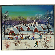 Folk art primitive winter scene oil painting by naive artist A. Kowalski (1926-)