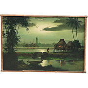 Filipino art tropical moonlight landscape painting dated 1968 signed R.P. Pasno
