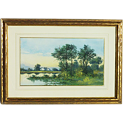 Pastel landscape painting with lake and trees