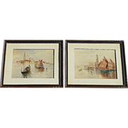 SOLD Pair of 1904 antique watercolor paintings of Venice Italy