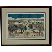 """Cuca Romley ( 1933-) hand colored etching """"Winter Lights"""" by well exhibited artist"""