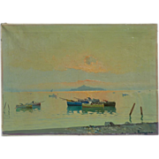 Impressionist circa 1970 Italian coast signed landscape oil painting