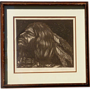 Larry Fodor (1951-) pencil signed limited edition etching print of native American Indian brav