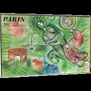 SOLD Marc Chagall (1887 -1985) color lithograph poster  Paris L'Opera