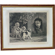 Samuel John Carter (1855 -1892) large engraving by well listed English animal painter