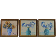 Set of THREE miniature still life collage pastel drawing paintings by MARKEE made in Hollywood