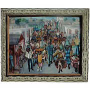 Haitian art Wilson Bigaud (1931 - 2010) well listed artist naive oil gouache painting signed
