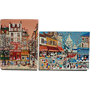 Pair colorful France Paris street scene primitive folk art pointillism style naive paintings